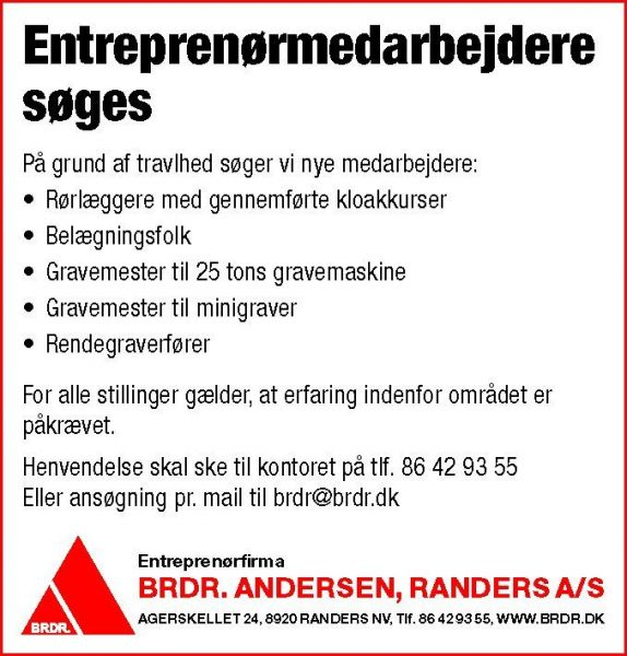 Brdr. Andersen - Jobopslag